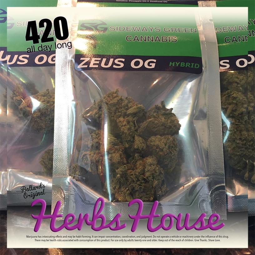 Sideways Zeus OG 420 Herbs House