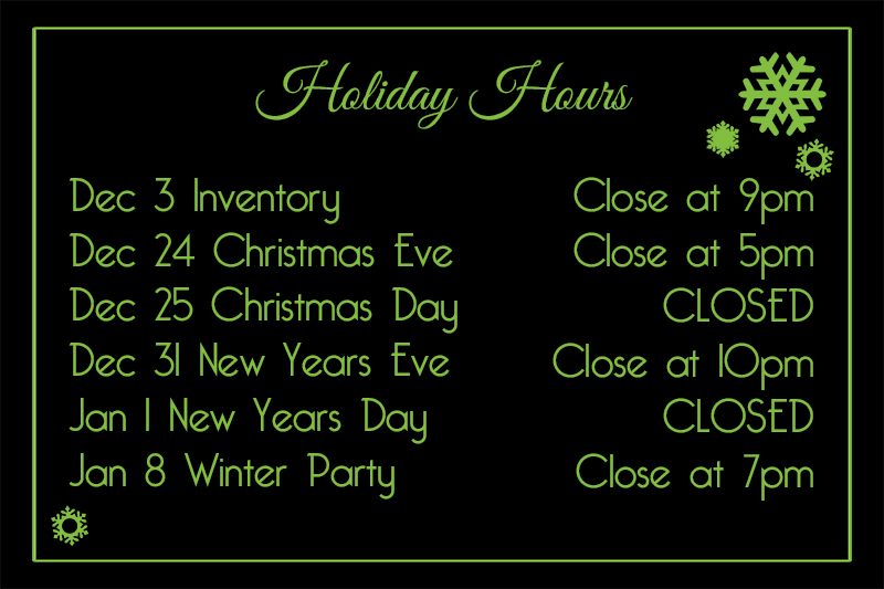 2018 Holiday Hours Herbs House