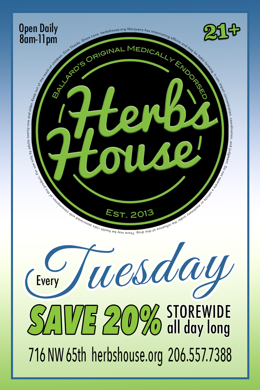 Save 20% Tuesdays at Herbs House