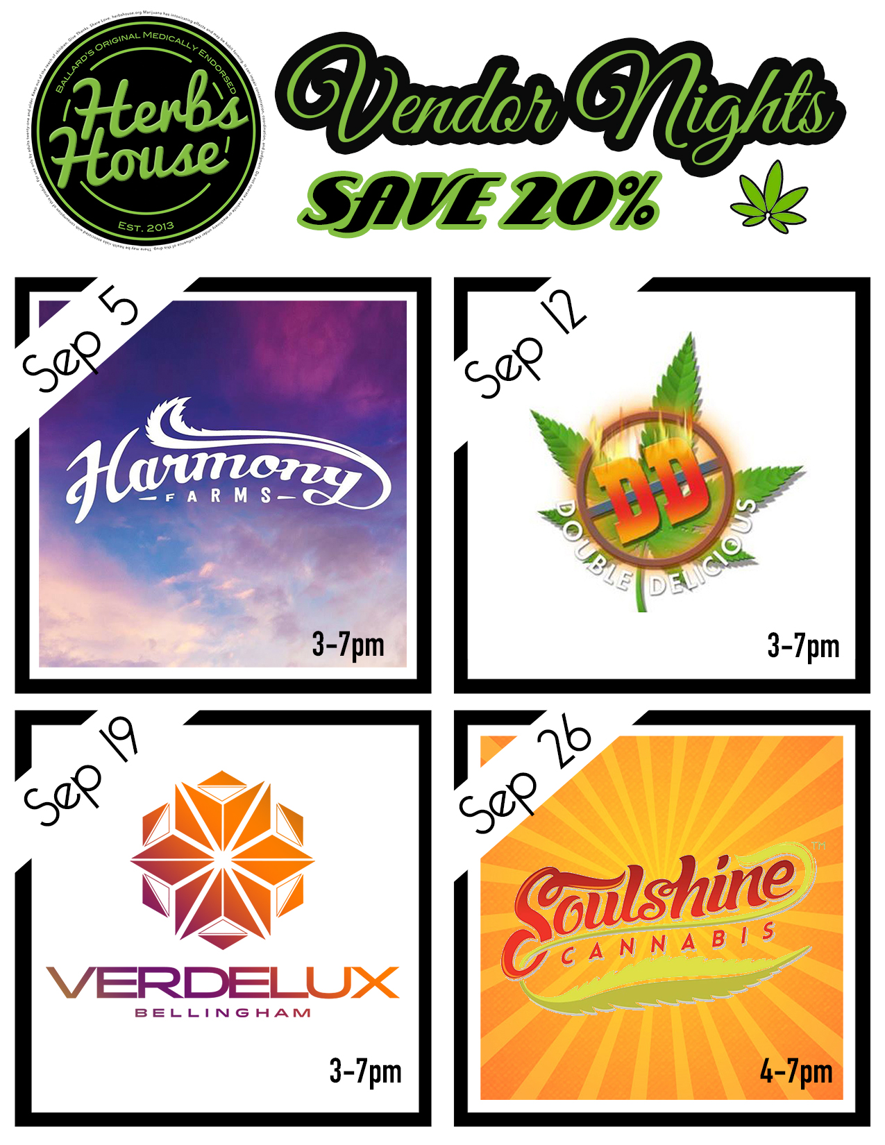 Vendor Nights at Herbs House Sept 2019