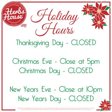 2020 Holiday Hours at Herbs