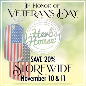 2020 Veteran's Day SAVE 20% Herbs House